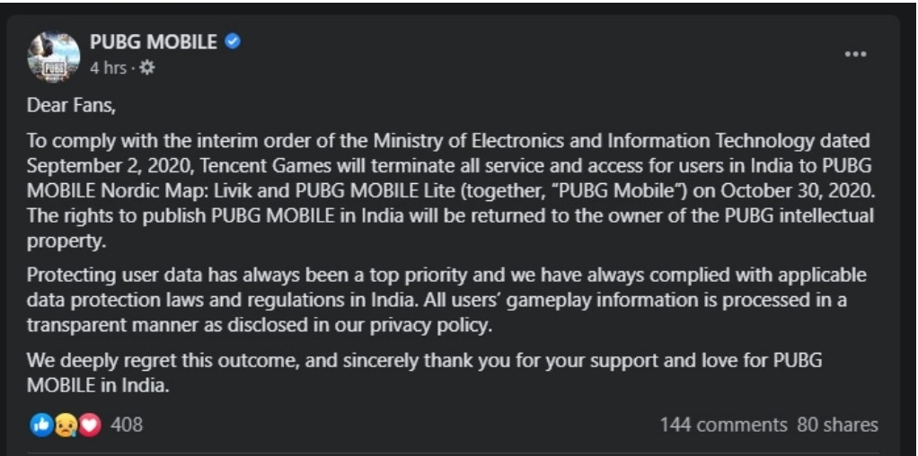 PUBG Mobile and PUBG Mobile Lite Shutting Down From 30 October 2020 Onwords Official Confirmation News Pubg complete ban Pubg complete ban, Pubg complete ban in india, Pubg game not working, Pubg no longer, Pubg not working, Pubg servers  Kannada Tech